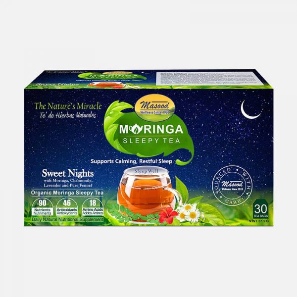 moringa sleepy tea blended with chamomile & lavender for sleep anxiety & stress